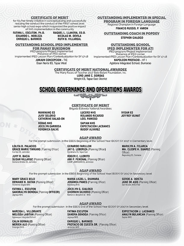 Curriculum Implementation and Special Program Awards