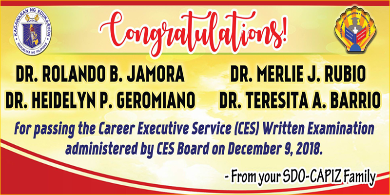 Career Executive Service Written Examination Passers December 9, 2019